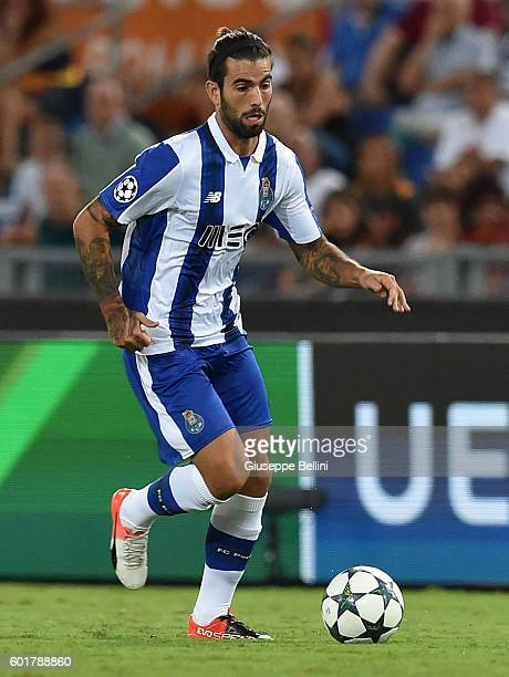 Sergio Oliveira of FC Porto in action during the UEFA Champions League qualifying playoffs match between FC Porto and AS Roma on August 23 2016 in...