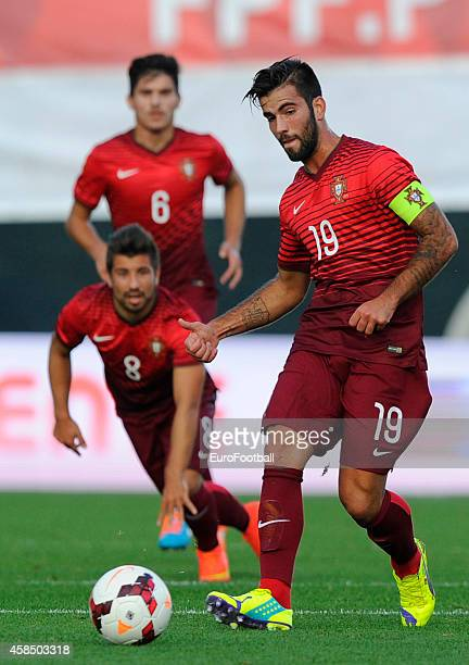 Sergio Oliveira of Portugal in action during the UEFA U21 Championship second leg playoff between Portugal and Netherlands at the Mata Real Stadium...