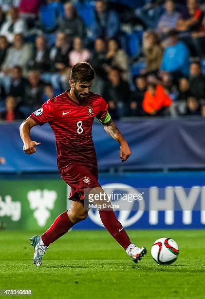 Sergio Oliveira of Portugal in action during UEFA U21 European Championship Group B match between Portugal and Sweden at Mestsky Fotbalovy Stadium on...