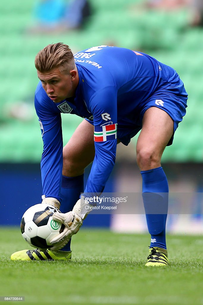 Sergio Padt of Groningen picks up the ball during the friendly match between FC Groningen an FC Southampton at Euroborg Stadium on July 30 2016 in...
