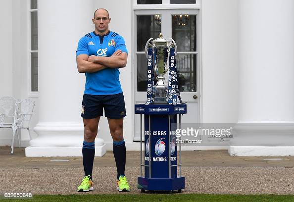 Sergio Parisse Captain of Italy poses with The Six Nations Trophy during the 2017 RBS Six Nations launch at The Hurlingham Club on January 25 2017 in...