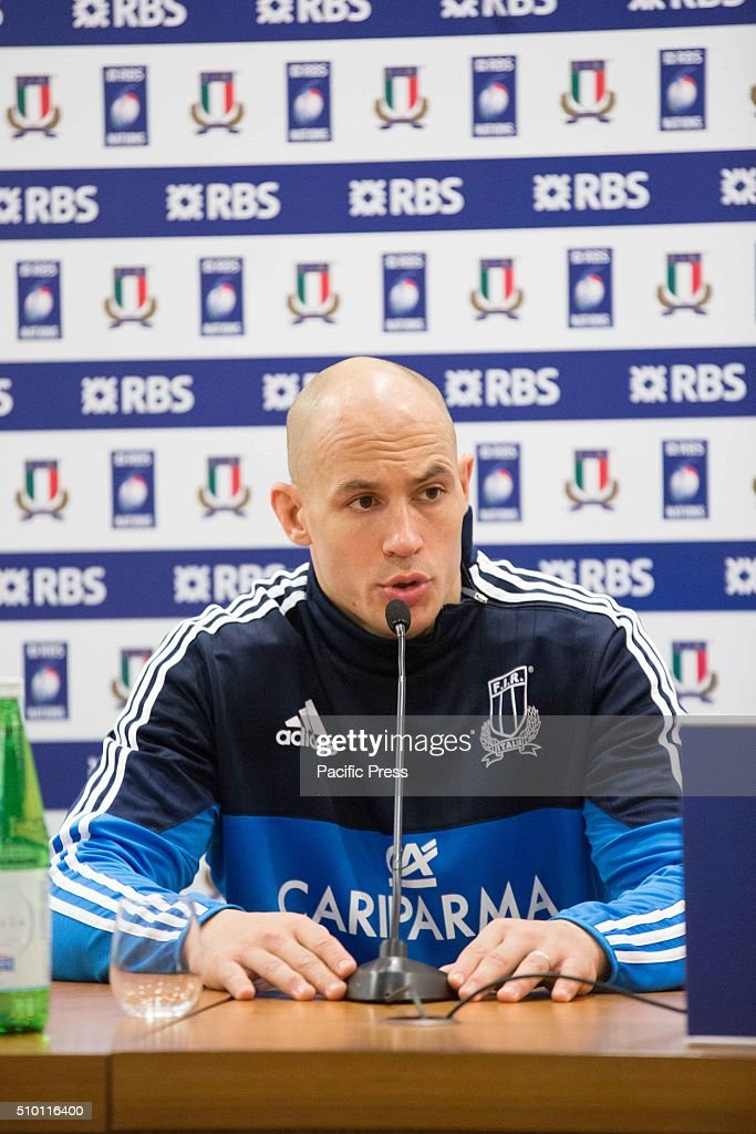Sergio Parisse, captain of the Italian Rugby team, at press conference before the match against England during the RBS 6 Nations.