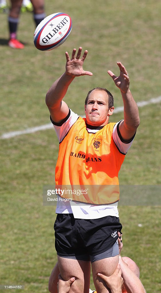 Sergio Parisse catches the ball during the Barbarians training session held at the Richmond Athletic Ground on May 25 2011 in Richmond upon Thames...