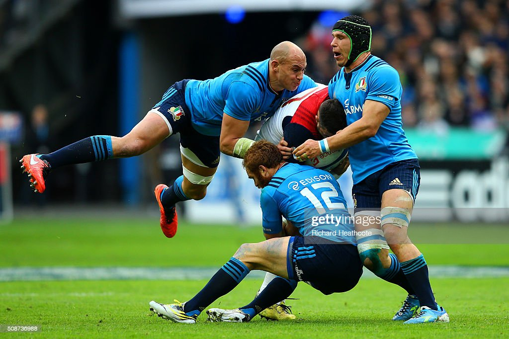 Sergio Parisse Francesco Minto and Gonzalo Garcia of Italy tackle Damien Chouly of France during the RBS Six Nations match between France and Italy...