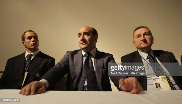 Sergio Parisse Italian sports Minister Rocco Crimi and Italian Rugby Federation President Giancarlo Dondi speak to the media during the Rugby Union...