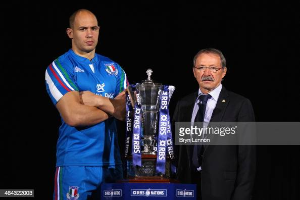 Sergio Parisse of Italy and Head Coach Jacques Brunel pose for a photo during the RBS Six Nations Launch at The Hurlingham Club on January 22 2014 in...