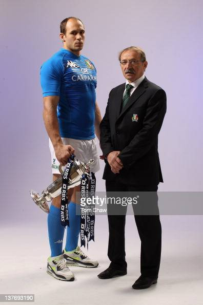 Sergio Parisse of Italy and Head CoachJacques Brunel of Italy pose with the RBS Six Nations trophy during the RBS Six Nations Launch at The...