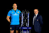 Sergio Parisse of Italy and Jacques Brunel the coach of Italy pose with the trophy during the launch of the 2015 RBS Six Nations at the Hurlingham...