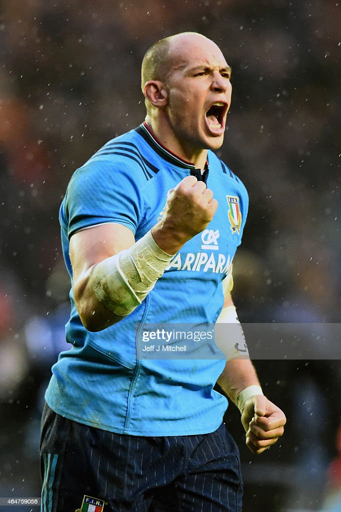 Sergio Parisse of Italy celebrates after beating Scotland during the RBS Six Nations match between Scotland and Italy at Murrayfield stadium on...
