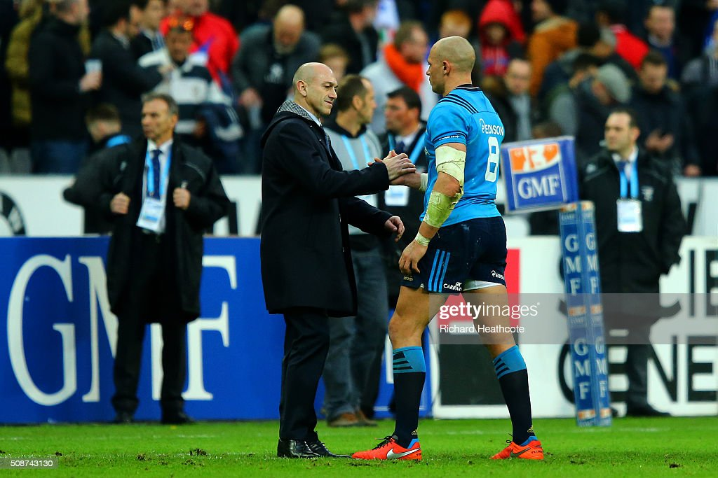 <a gi-track='captionPersonalityLinkClicked' href=/galleries/search?phrase=Sergio+Parisse&family=editorial&specificpeople=648570 ng-click='$event.stopPropagation()'>Sergio Parisse</a> of Italy is consoled after the RBS Six Nations match between France and Italy at Stade de France on February 6, 2016 in Paris, France.