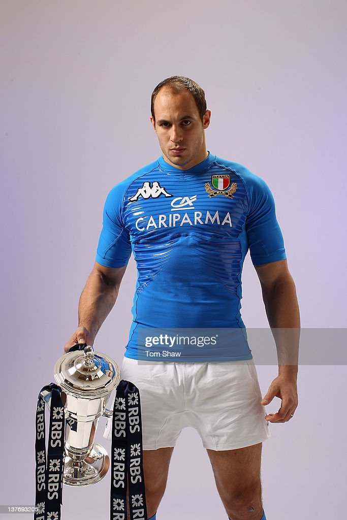 Sergio Parisse of Italy poses with the RBS Six Nations trophy during the RBS Six Nations Launch at The Hurlingham Club on January 25 2012 in London...