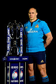 Sergio Parisse of Italy poses with the trophy during the launch of the 2015 RBS Six Nations at the Hurlingham club on January 28 2015 in London...