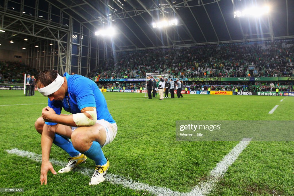 <a gi-track='captionPersonalityLinkClicked' href=/galleries/search?phrase=Sergio+Parisse&family=editorial&specificpeople=648570 ng-click='$event.stopPropagation()'>Sergio Parisse</a> of Italy shows his dejection after the IRB Rugby World Cup Pool C match between Ireland and Italy at Dunedin Stadium on October 2, 2011 in Dunedin, New Zealand.