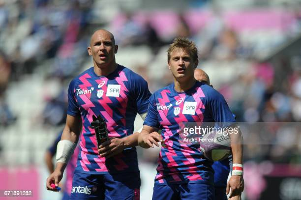 Sergio Parisse of Stade Francais and Jules Plisson of Stade Francais during the European Challenge Cup semi final between Stade Francais and Bath on...