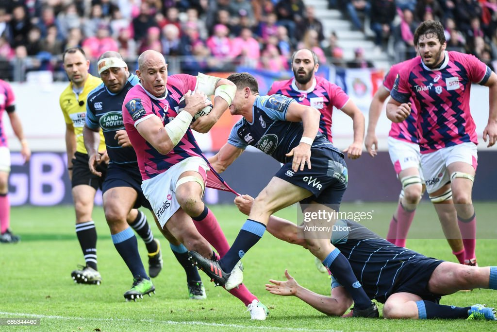 Sergio Parisse of Stade Francais during the Champions Cup Play-offs match between Stade Francais Paris and Cardiff Blues at Stade Jean Bouin on May 19, 2017 in Paris, France.