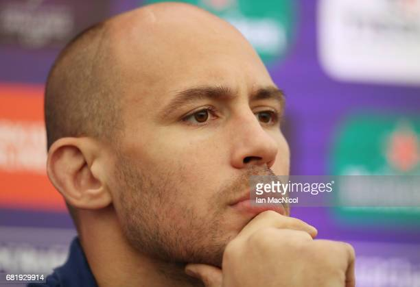 Sergio Parisse of Stade Francais speaks to the media during a press conference ahead of the ERC Challenge Cup final between Gloucester and Stade...