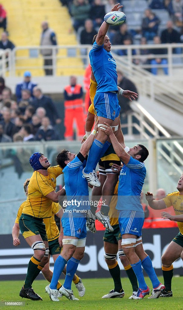 Sergio Parrise of Italy wins a line out ball during the international rugby test match between Italy and Australia at Artemio Franchi on November 24, 2012 in Florence, Italy.
