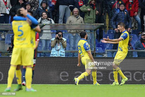 Sergio Pellissier and Federico Mattiello of AC Chievo Verona celebrates after scoring a goal during the Serie A match between Genoa CFC and AC Chievo...