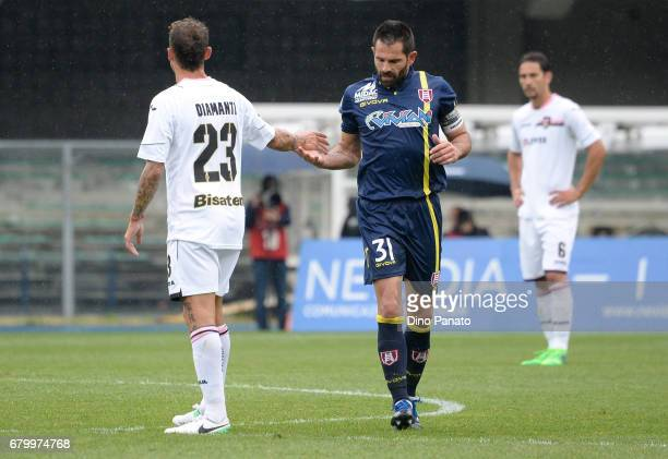 Sergio Pellissier of AC ChievoVerona celebrates after scoring his opening goal from the penalty spot during the Serie A match between AC ChievoVerona...