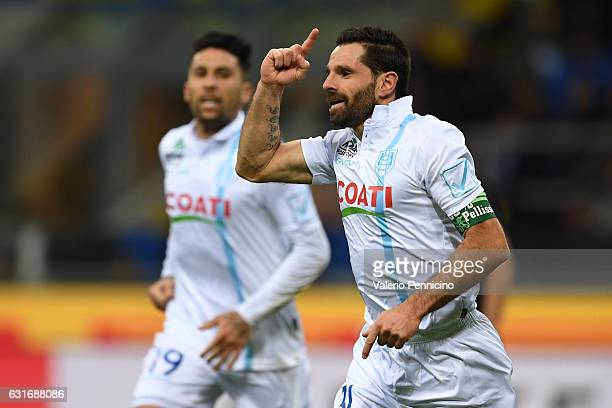 Sergio Pellissier of AC ChievoVerona celebrates after scoring the opening goal during the Serie A match between FC Internazionale and AC ChievoVerona...