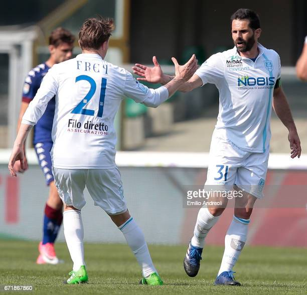 Sergio Pellissier of AC ChievoVerona celebrates his goal with his teammate Nicolas Sebastien Frey during the Serie A match between AC ChievoVerona...