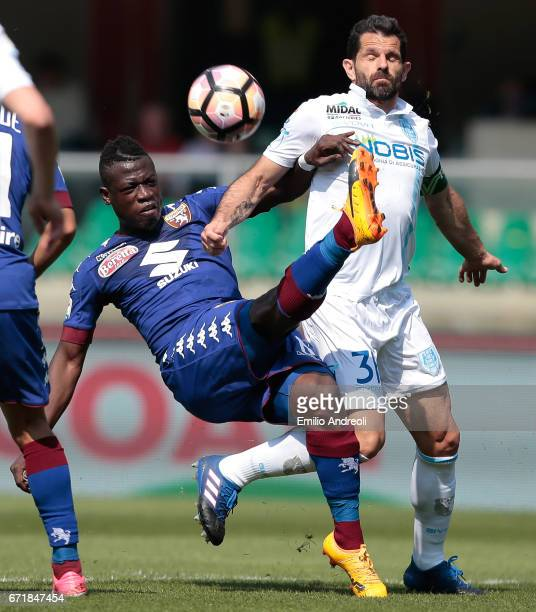 Sergio Pellissier of AC ChievoVerona competes for the ball with Afriyie Acquah of Torino FC during the Serie A match between AC ChievoVerona and FC...