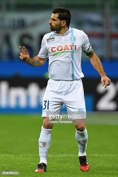 Sergio Pellissier of AC ChievoVerona gestures during the Serie A match between FC Internazionale and AC ChievoVerona at Stadio Giuseppe Meazza on...