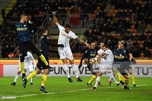 Sergio Pellissier of AC ChievoVerona scores the opening goal during the Serie A match between FC Internazionale and AC ChievoVerona at Stadio...