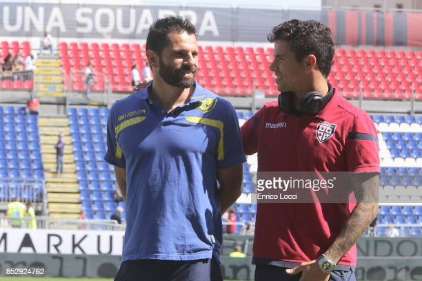 Sergio Pellissier of Chievo and Diego Farias of Cagliari during the Serie A match between Cagliari Calcio and AC Chievo Verona at Stadio Sant'Elia on...