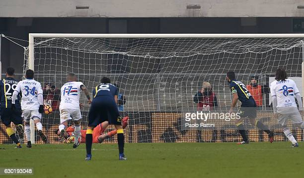 Sergio Pellissier of Chievo penalty 20 during the Serie A match between AC ChievoVerona and UC Sampdoria at Stadio Marc'Antonio Bentegodi on December...