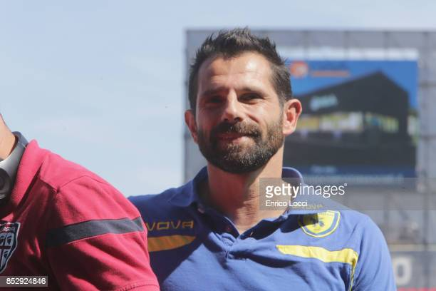 Sergio Pellissier of Chievo seen during the Serie A match between Cagliari Calcio and AC Chievo Verona at Stadio Sant'Elia on September 24 2017 in...