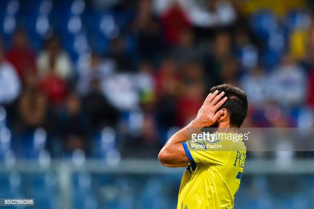 Sergio Pellissier of Chievo Verona during the Serie A match between Genoa CFC and AC Chievo Verona at Stadio Luigi Ferraris on September 20 2017 in...