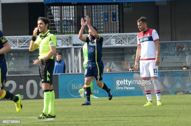 Sergio Pellissier of ChievoVerona celebrates after scorig his teams first goal during the Serie A match between AC ChievoVerona and FC Crotone at...