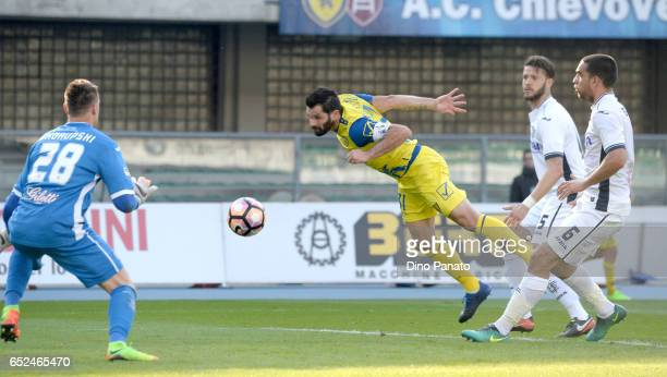 Sergio Pellissier of ChievoVerona scores his team's second goal during the Serie A match between AC ChievoVerona and Empoli FC at Stadio Marc'Antonio...