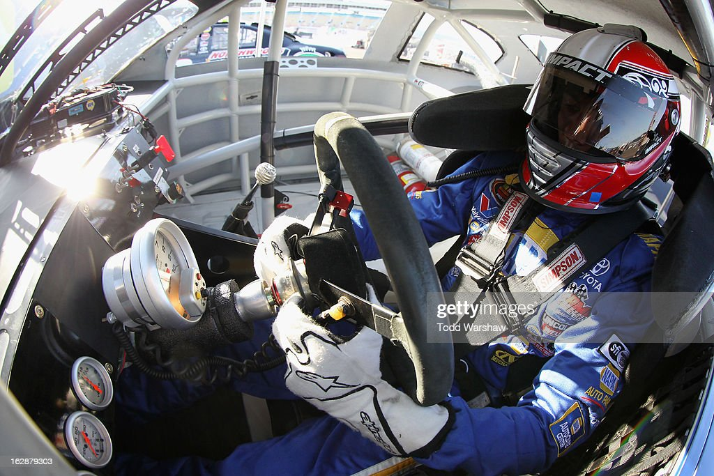 Sergio Pena, driver of the #16 NAPA Auto Parts Toyota, prepares to drive during NASCAR K&N Pro Series West practice for the Talking Stick Resort 60 at Phoenix International Raceway on February 28, 2013 in Avondale, Arizona.