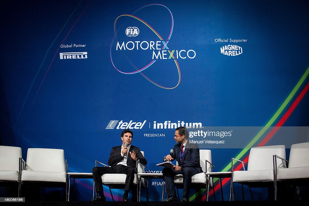 Sergio Perez (L), Formula 1 driver speaks in a conference during the FIA Motorex 2015 at Centro Banamex on July 10, 2015 in Mexico City, Mexico.