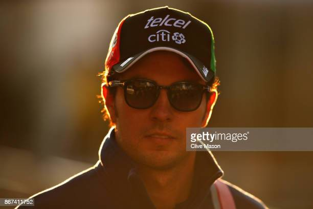 Sergio Perez of Mexico and Force India arrives at the circuit before final practice for the Formula One Grand Prix of Mexico at Autodromo Hermanos...