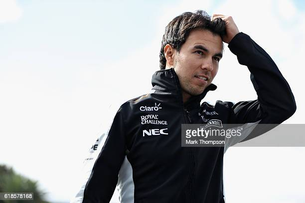 Sergio Perez of Mexico and Force India arrives at the circuit during previews to the Formula One Grand Prix of Mexico at Autodromo Hermanos Rodriguez...