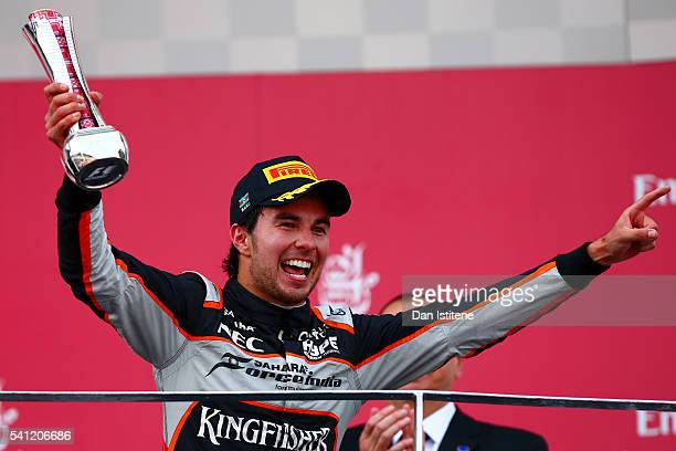 Sergio Perez of Mexico and Force India celebrates on the podium after finishing third during the European Formula One Grand Prix at Baku City Circuit...