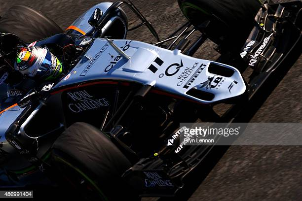 Sergio Perez of Mexico and Force India drives during final practice for the Formula One Grand Prix of Italy at Autodromo di Monza on September 5 2015...