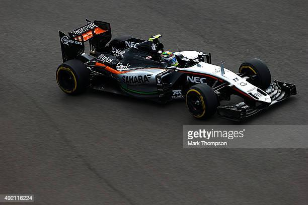 Sergio Perez of Mexico and Force India drives during final practice for the Formula One Grand Prix of Russia at Sochi Autodrom on October 10 2015 in...