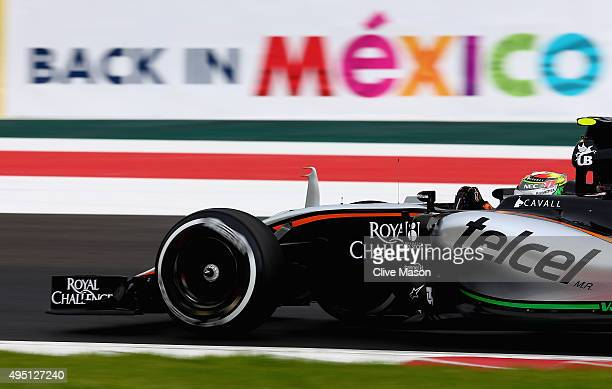 Sergio Perez of Mexico and Force India drives during final practice for the Formula One Grand Prix of Mexico at Autodromo Hermanos Rodriguez on...