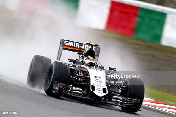 Sergio Perez of Mexico and Force India drives during practice for the Formula One Grand Prix of Japan at Suzuka Circuit on September 25 2015 in Suzuka