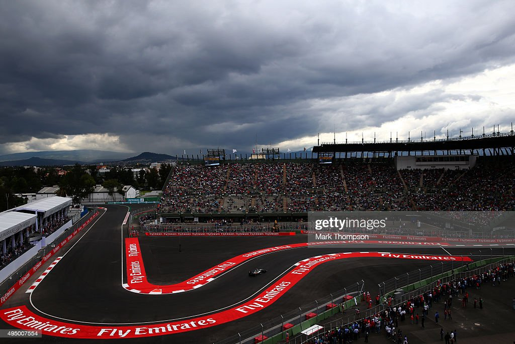 Sergio Perez of Mexico and Force India drives during practice for the Formula One Grand Prix of Mexico at Autodromo Hermanos Rodriguez on October 30, 2015 in Mexico City, Mexico.