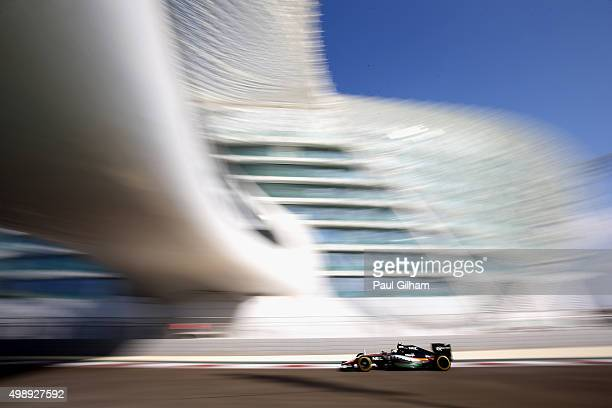 Sergio Perez of Mexico and Force India drives during practice for the Abu Dhabi Formula One Grand Prix at Yas Marina Circuit on November 27 2015 in...