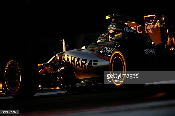 Sergio Perez of Mexico and Force India drives during qualifying for the Abu Dhabi Formula One Grand Prix at Yas Marina Circuit on November 28 2015 in...