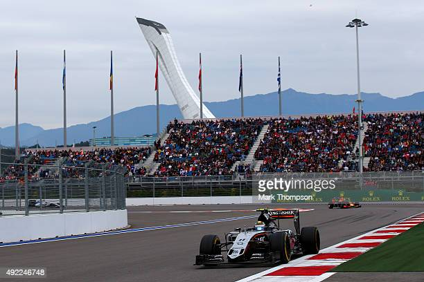 Sergio Perez of Mexico and Force India drives during the Formula One Grand Prix of Russia at Sochi Autodrom on October 11 2015 in Sochi Russia