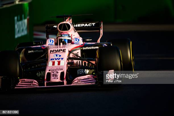 Sergio Perez of Mexico and Force India during the Azerbaijan Formula One Grand Prix at Baku City Circuit on June 25 2017 in Baku Azerbaijan