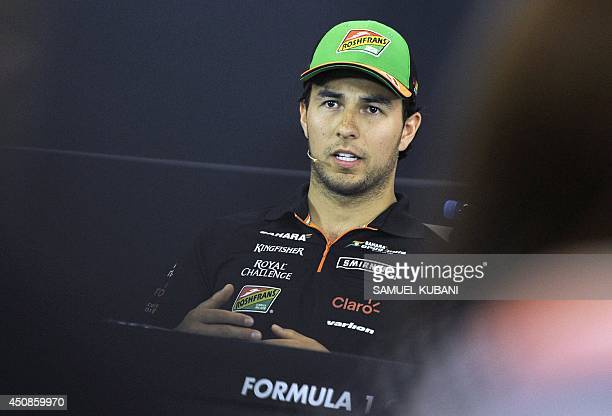 Sergio Perez of Mexico and Force India is pictured during a press conference on June 19 2014 in Spielberg prior to the Austria Formula One Grand Prix...