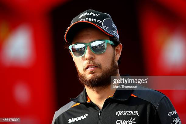 Sergio Perez of Mexico and Force India leaves the paddock after practice for the Formula One Grand Prix of Italy at Autodromo di Monza on September 4...